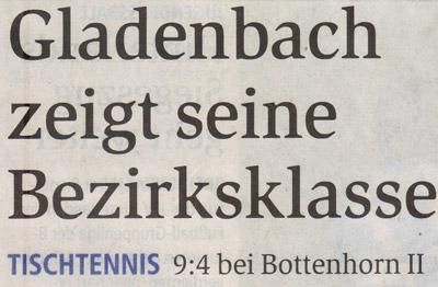 Tischtennis: Gladenbach siegt in Bottenhorn