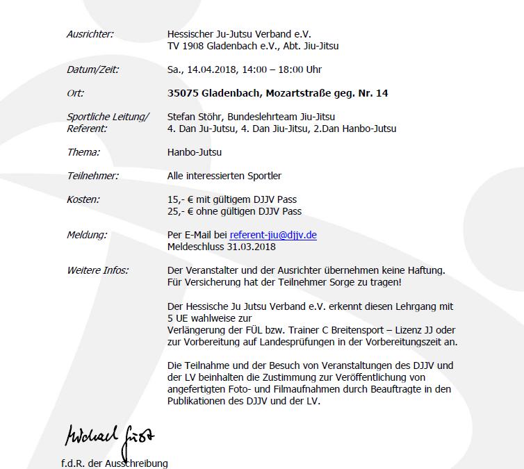 Bundeslehrgang Hanbo Jutsu 14.04.2018