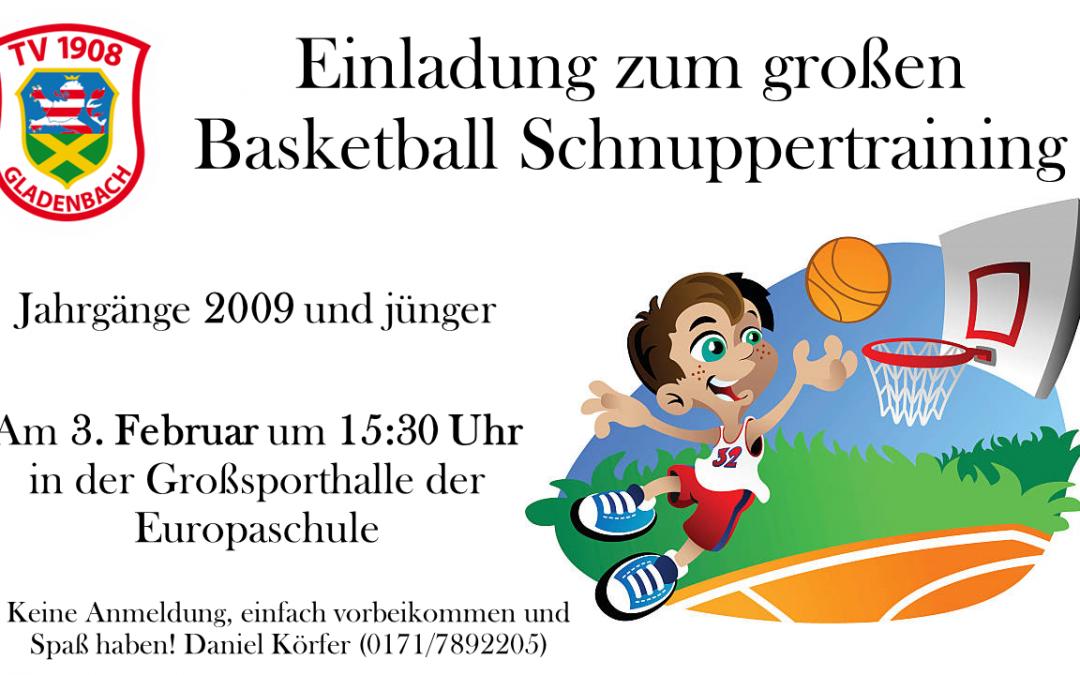 Einladung zum Basketball-Schnuppertraining am 3.02.