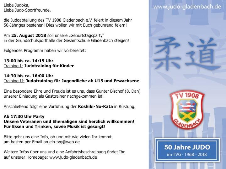 Judo Feier zum 50. Abteilungsjubiläum
