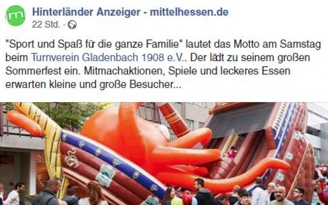 Vorberichterstattung zum Sommerfest am Samstag im Hinterländer Anzeiger