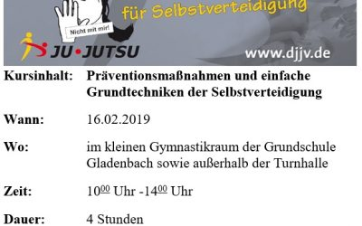 Schnupperkurs Mädchen und Frauen Selbstverteidigung 16.02.2019