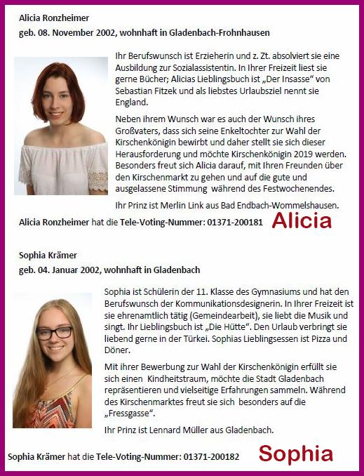 Televoting Kirschenköniginnen Wahl 2019