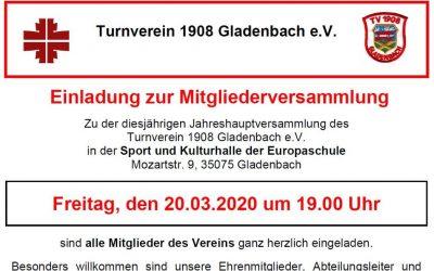 Fällt aus: Einladung zur Mitgliederversammlung 2020