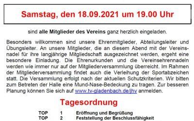 Einladung zur Mitgliederversammlung 2021
